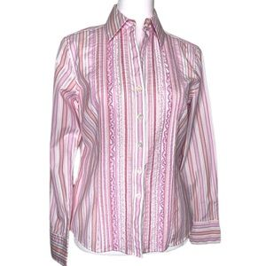 Ann Taylor Petites Striped Ruffled Blouse Small